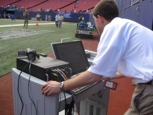 After about 10 minutes of traning, Giants staffers ran their first live webcast with TriCaster
