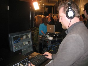 Philip Nelson runs the TriCaster during a live Yamaha webcast for Alicia Keys.