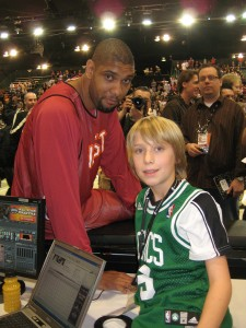 Noel and Tim Duncan. He was sick that he didn't wear his Duncan Jersey that day.