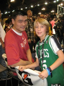 Noel and Yao Ming. Yao told Noel that he was wearing the wrong Jersey.
